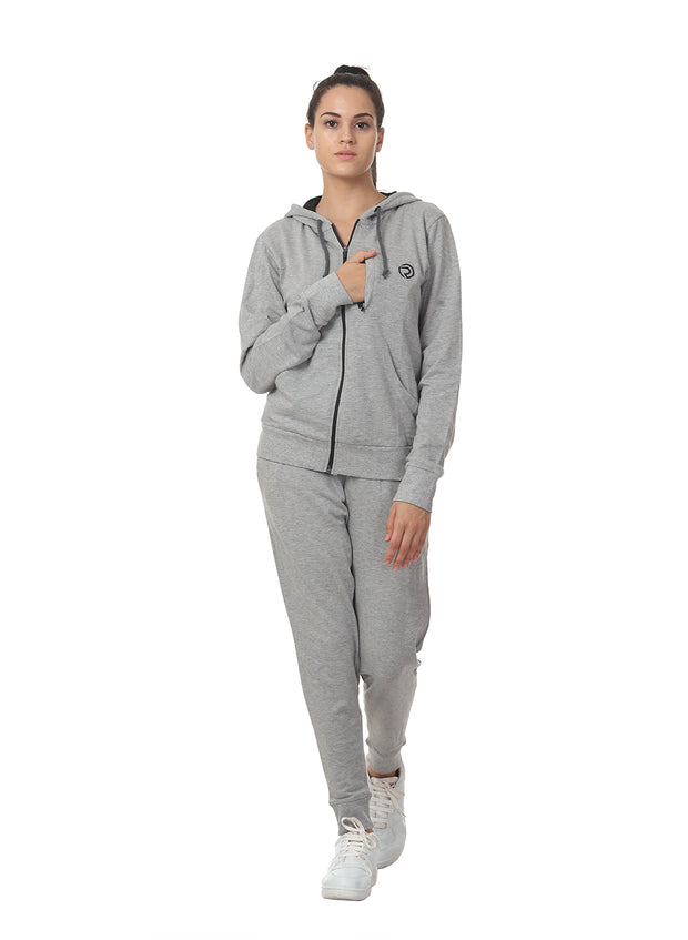 Training & Travel Hoodie Jacket with Zippered Chest Pocket for Women - Grey - TRUEREVO