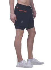 "5"" Running Shorts with water resistant phone pocket - Men's Black Double Layer - TRUEREVO"