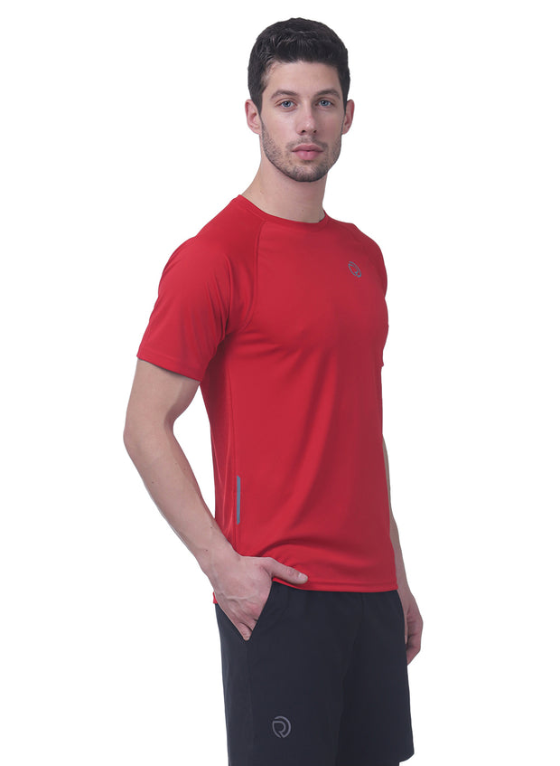 Men's Reflective dryfit tshirt with performaance mesh back - RED - TRUEREVO