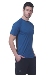 Men's Reflective dryfit tshirt with performaance mesh back - TEAL BLUE - TRUEREVO