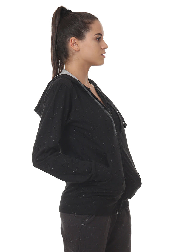 Training & Travel Hoodie Jacket with Zippered Chest Pocket for Women - Nappy Black - TRUEREVO