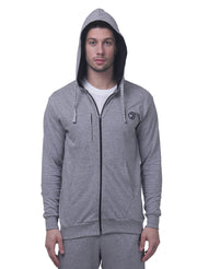 Training & Travel Hoodie Jacket with Zippered Chest Pocket for Men  - Milange Grey - TRUEREVO