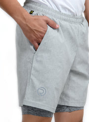 "7"" Sports Shorts with Phone Pocket - Special 2 layer Anthra Edition - Light Grey - TRUEREVO"