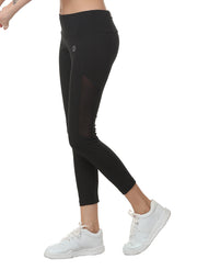 Women's Stretch Mesh 7/8th Legging with Waist Phone Pocket - Black - TRUEREVO