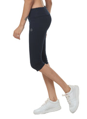 Women's Stretch Dryfit 3/4th Legging with Waist Phone Pocket - Navy - TRUEREVO