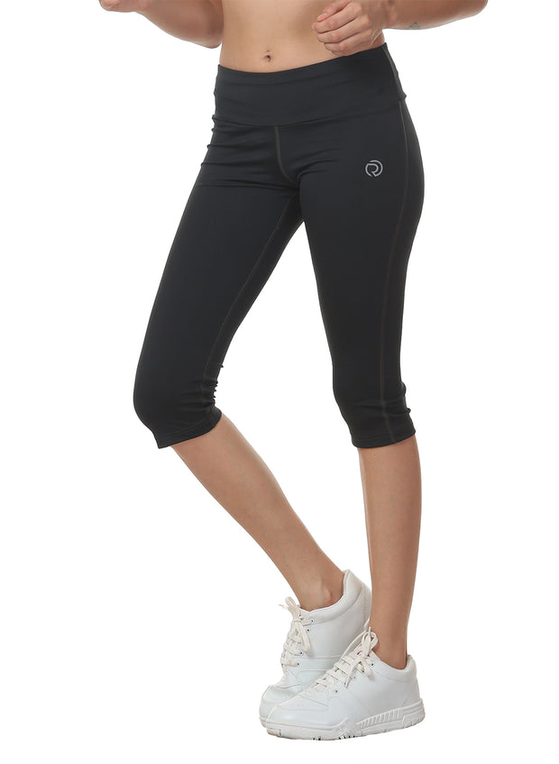 Women's Stretch Dryfit 3/4th Legging with Waist Phone Pocket - Graphite Grey - TRUEREVO