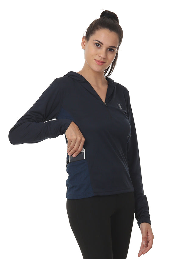 Hooded Full Sleeve Top  with Zipper Pocket for Women's Training & Sports - Navy - TRUEREVO