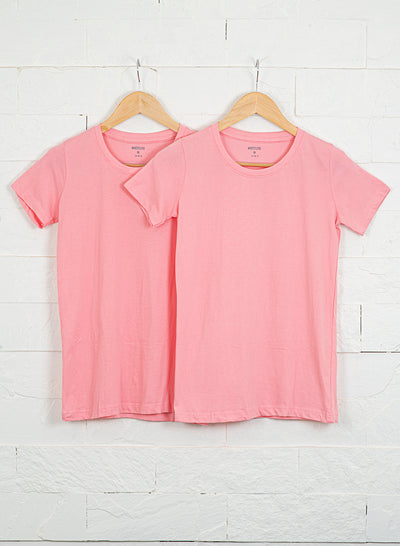 Women's Slim Fit Premium Cotton Tshirts (Pack of 2- Pink, Pink) - NITLON * TRUEREVO