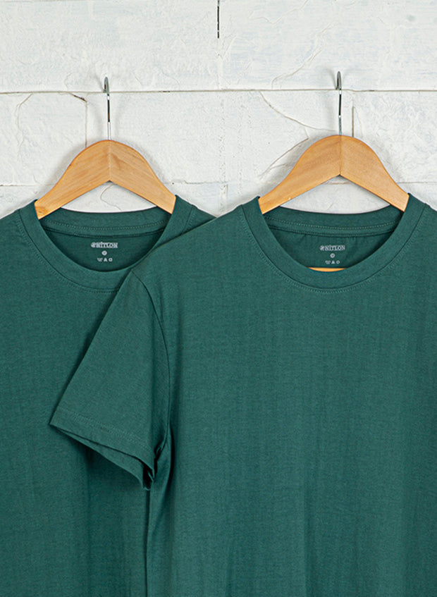 Men's Premium Cotton Tshirts (Pack of 2- Green, Green) - NITLON * TRUEREVO
