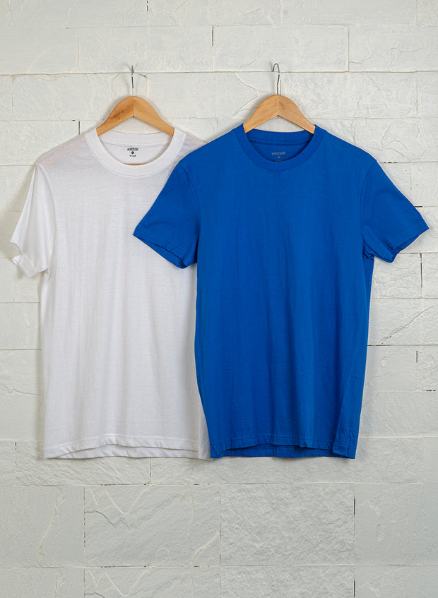 Men's Premium Cotton Tshirts  (Pack of 2- Blue,White) - NITLON * TRUEREVO