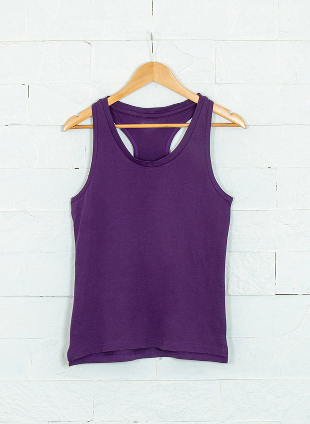 Women's Sleeveless  pure cotton tank- Deep Purple