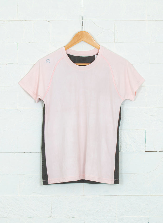 Women's Light Dryfit Tshirt with Mesh Back - Light Pink