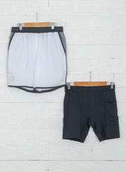 "7"" Detachable Shorts Combo with Phone Pocket - White"