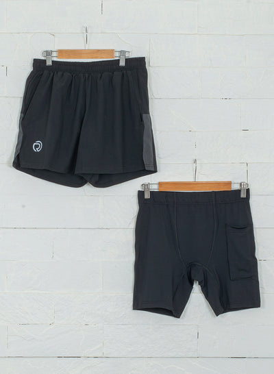 "5"" Detachable Shorts Combo with Phone Pocket-Black"