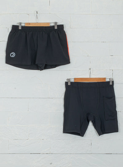 "2"" Detachable Shorts Combo with Phone Pocket-Black"
