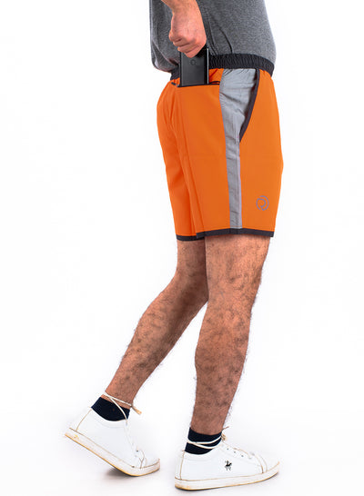 "7"" Shorts With Zipper Back Pocket""(Detachable Outer) - Orange"
