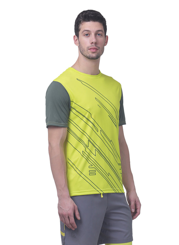Men's Reflective dryfit tshirt with flow graphics - Chartreuse - TRUEREVO