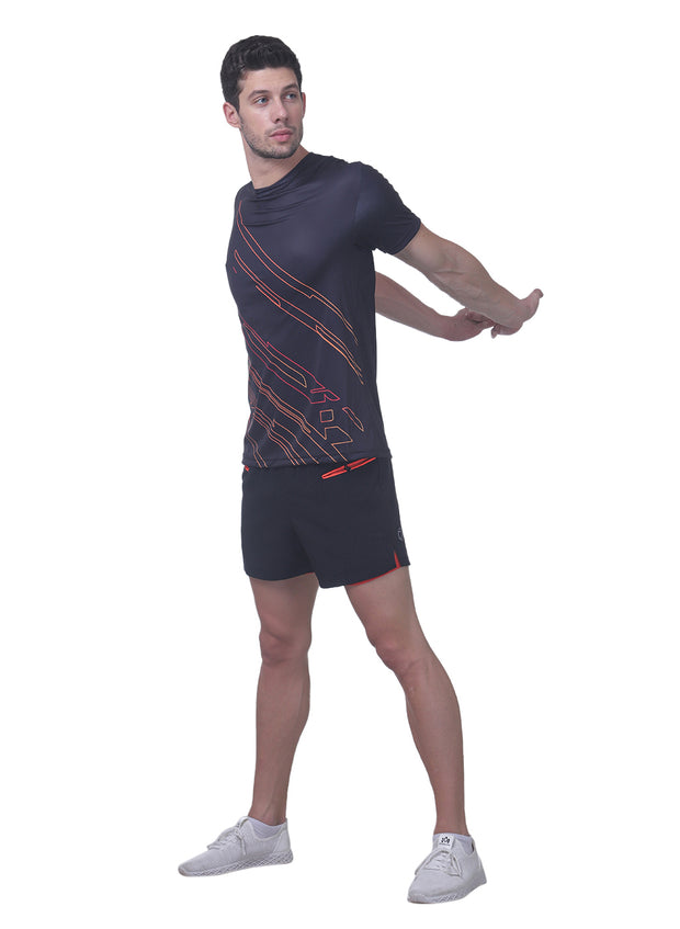 Men's Reflective dryfit tshirt with flow graphics - Black - TRUEREVO
