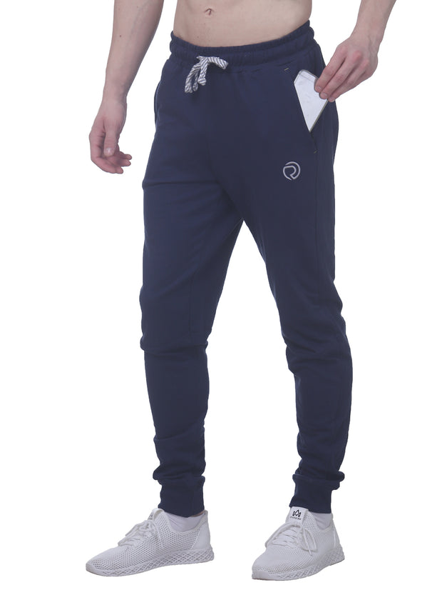Training & Travel Jogger Pant with 2 Zippered side Pockets for Men - Navy - TRUEREVO