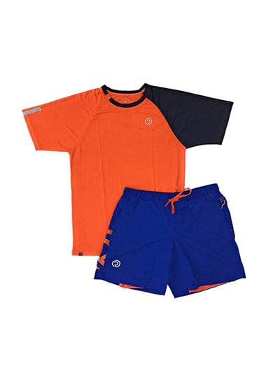 Shorts (with Phone pocket) & T-shirt Combo 2 Pack Men's Blue-Orange - TRUEREVO