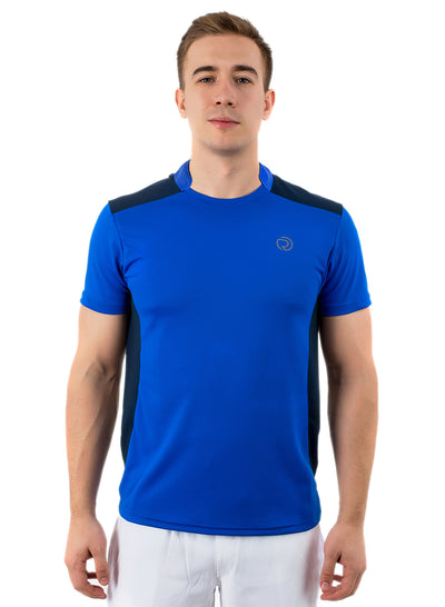Men's Dry Fit Sports & Training Tshirt with Mandarin Collar - Blue/Navy - TRUEREVO