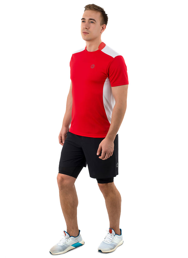 Men's Dry Fit Sports & Training Tshirt with Mandarin Collar - Red/White