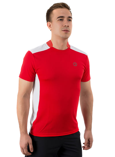 Men's Dry Fit Sports & Training Tshirt with Mandarin Collar - Red/White - TRUEREVO