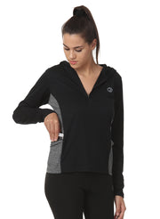 Hooded Full Sleeve Top  with Zipper Pocket for Women's Training & Sports - Dark Anthra - TRUEREVO