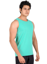 Men's Light Dryfit Tank with Reflective Details - Sea Green
