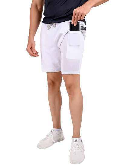 "7"" 2-in-1 Shorts With Phone Pocket - The SPS Men's White"