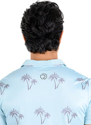 Stretch Dryfit Printed Golf & Sports Tshirt for Men - LIGHT BLUE-PALM TREE