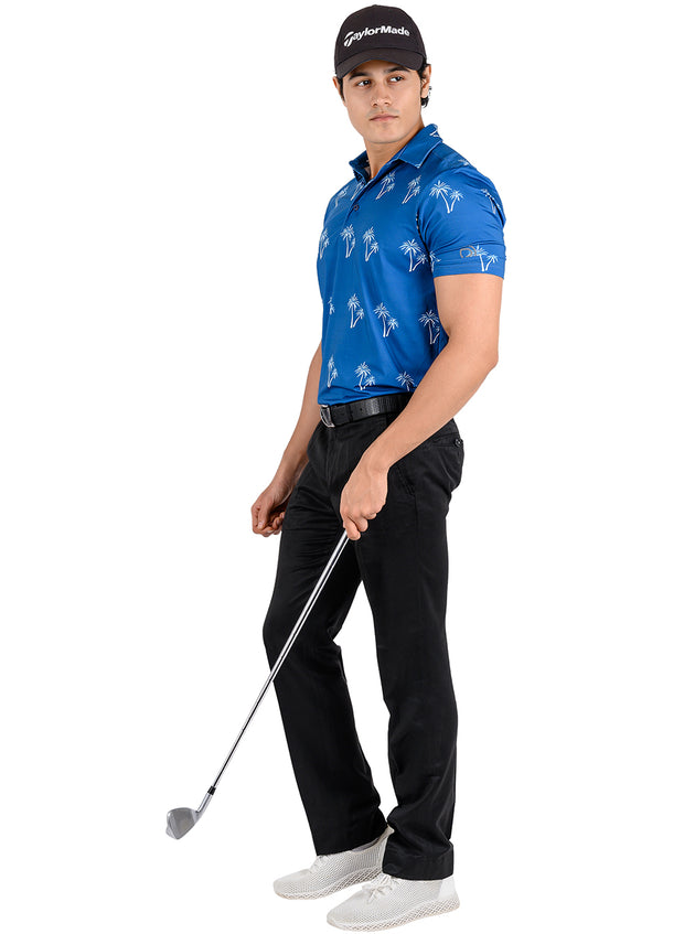 Stretch Dryfit Printed Golf & Sports Tshirt for Men - NAVY BLUE-PALM TREE
