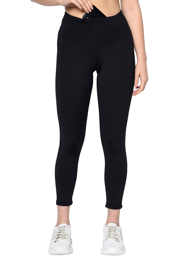 Women's Stretch Dryfit 7/8th Legging with Waist Phone Pocket & Zipper back pocket - Black