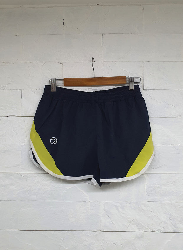 Professional Running Shorts with inner brief & key pocket - Navy yellow - TRUEREVO