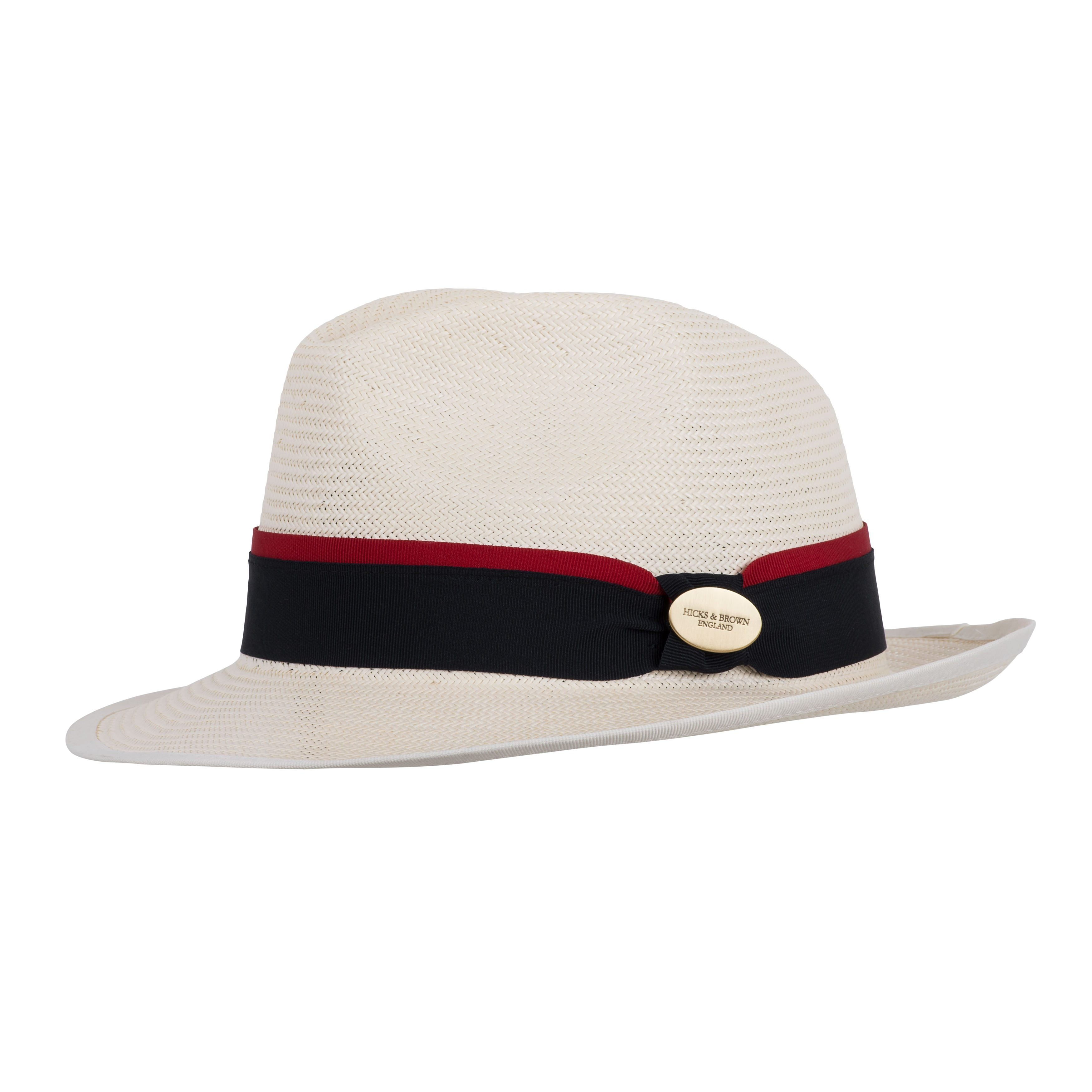Hicks & Brown Fedora The Holkham Panama (Navy with Red ribbon)