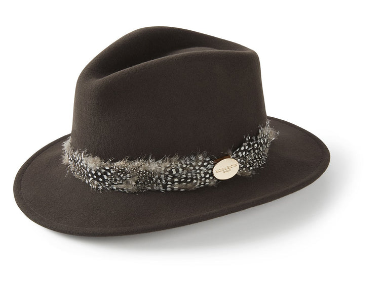 The Suffolk Fedora in Dark Brown (Guinea Feather Wrap)