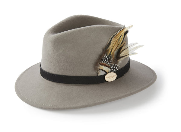 Hicks & Brown Fedora The Suffolk Fedora in Grey (Guinea and Pheasant Feather)