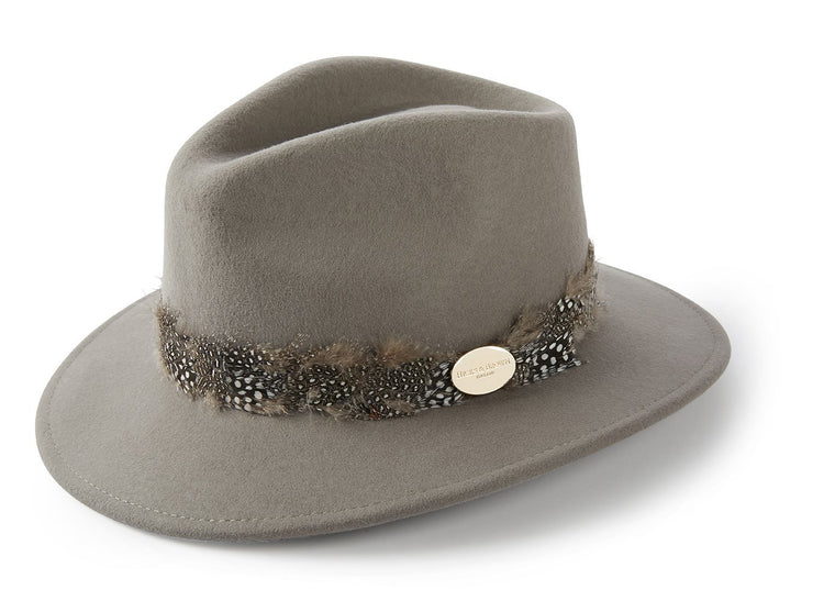 The Suffolk Fedora in Grey (Guinea Feather Wrap)