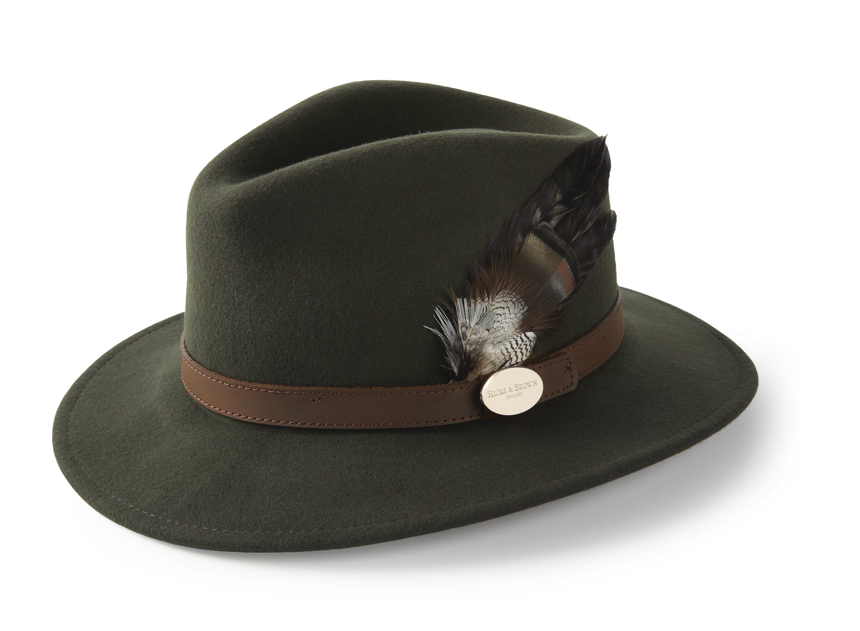 Hicks & Brown The Suffolk Fedora in Olive Green (Bronze Duck Feather)