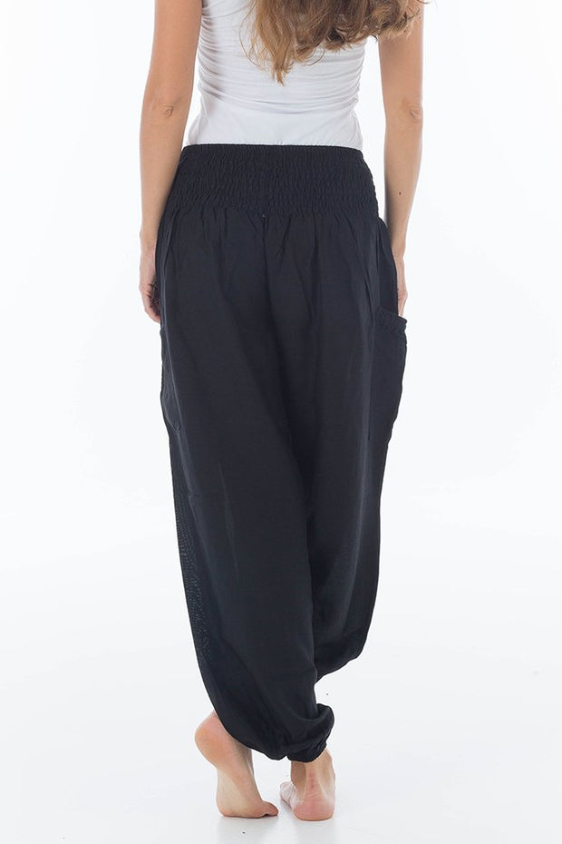 High Waisted Solid Color Harem Pants