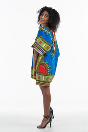 Women's African Dashiki Shirt Blue