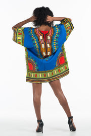 African Dashiki Shirt Blue