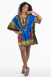 African Dashiki Dress Elastic Waist Blue