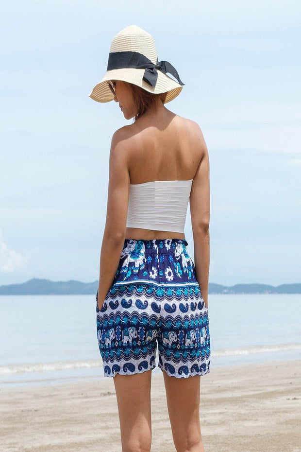 Thai Boho Elephant Shorts Paisley Design Main Color Blue - Harem Garden