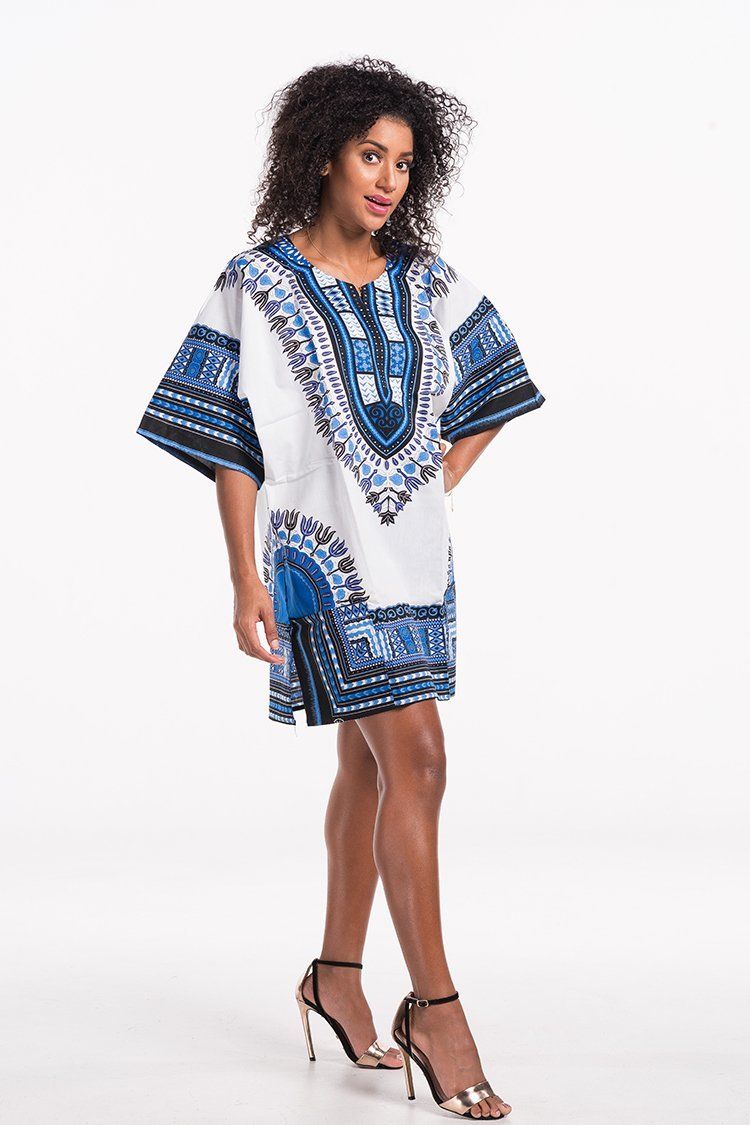 African Dashiki Shirt White Blue