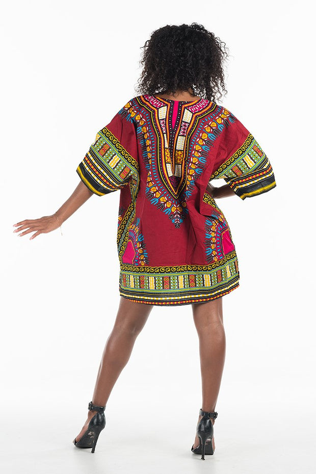 African Dashiki Shirt Burgundy