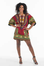 Women's African Dashiki Shirt Burgundy