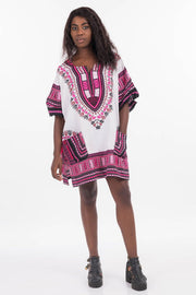 African Dashiki Shirt White Pink