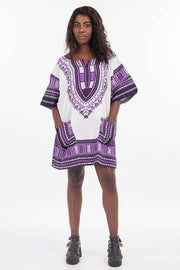 African Dashiki Shirt White Purple