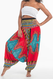 African Dashiki Harem Jumpsuit Red